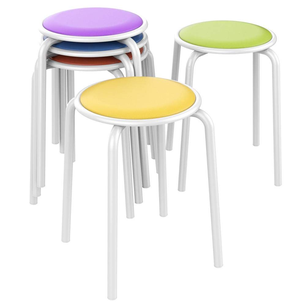 Topeakmart Metal Stack Stools with Padded Seat Soft Stools Classroom Stools for Kids Students Children Portable Classroom Furniture Flexible Seating 17.7'' Height (Pack of 5)