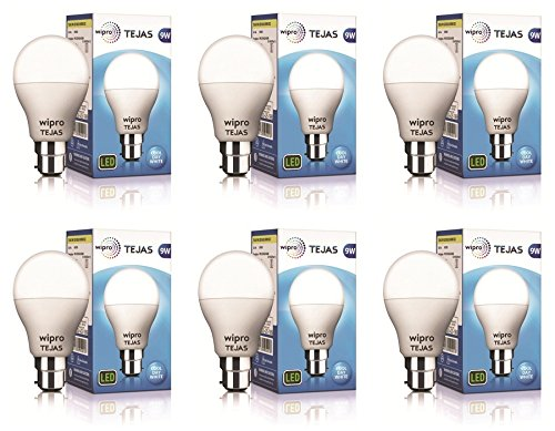 Wipro Polycarbonate Tejas Base B22 9-Watt Led Bulb (Pack Of 6, White)