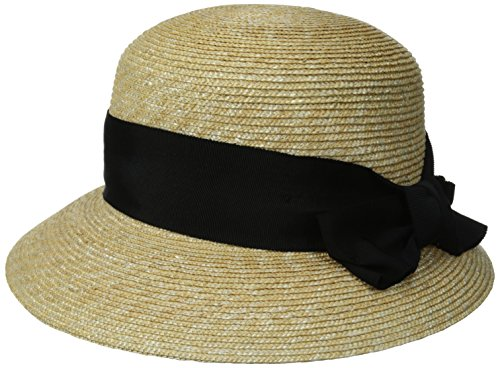 Gottex Women's Darby Fine Milan Straw Packable Sun Hat, Rated UPF 50+ for Max Sun Protection, Natural/Black, One Size by Gottex