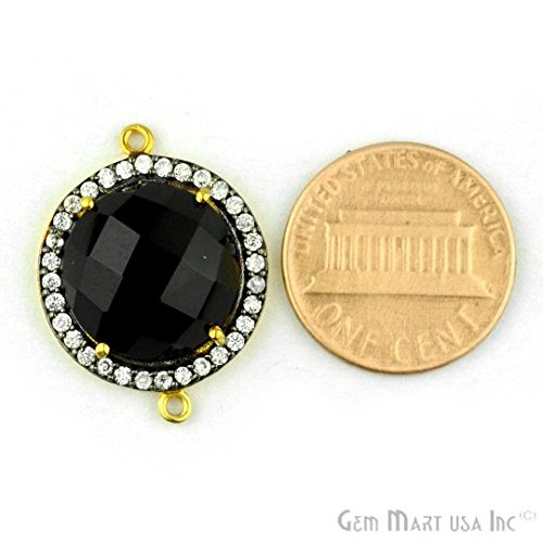 Natural Black Onyx, Black Pave Bezel Round Shape Connector, 14mm Round 24K Gold Plated, Double Bail 1pc. (BPBO-40006)