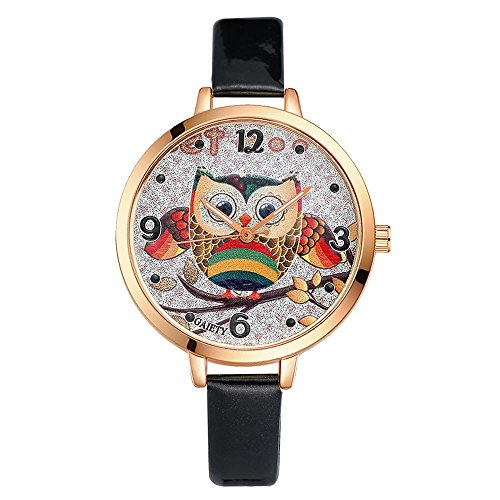 - Watches for Women Lovely Cartoon Quartz Wristwatch Colorful Owl Pattern Dial PU Strap Analog Wrist Watch Best Gift for Girls Female(Black)