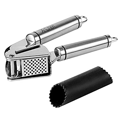Stainless Steel Garlic Press, X-Chef Premium Peeling Press Mince & Roller, Best Silicone Tube Garlic Peeler - Crush Garlic Cloves & Ginger with Ease