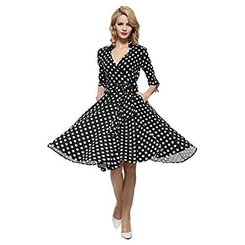 Maggie Tang 3/4 Sleeve 50s 60s Vintage Dress Black with White Dots Size XL