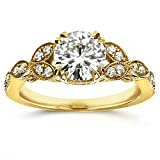 Antique Round-cut Moissanite Engagement Ring with Diamond 1 1/5 CTW 14k Yellow Gold