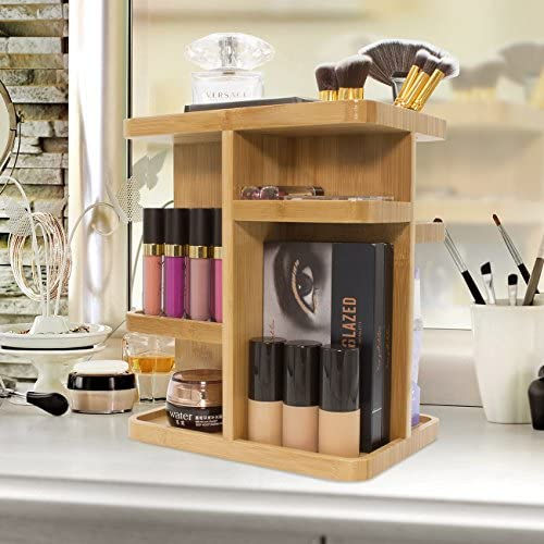Amazon Com Sorbus 360 Bamboo Cosmetic Organizer Multi Function Storage Carousel For Makeup Toiletries And More Great For Vanity Desk Bathroom Bedroom Closet Kitchen Home Kitchen