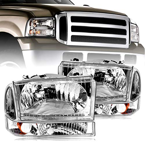 Headlight Assembly oEdRo Fit for 1999-2004 Ford F250 | F350 | F450 | F550 | Super Duty | Excursion Truck Chrome Headlights ()