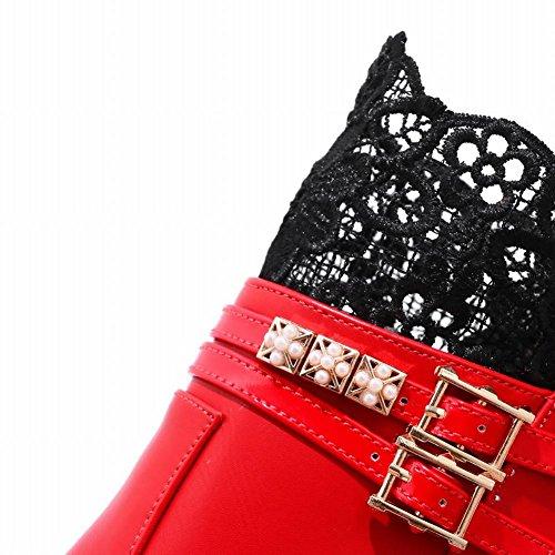 Mee Shoes Damen Lace chunky heels Reißverschluss Stiefel Rot