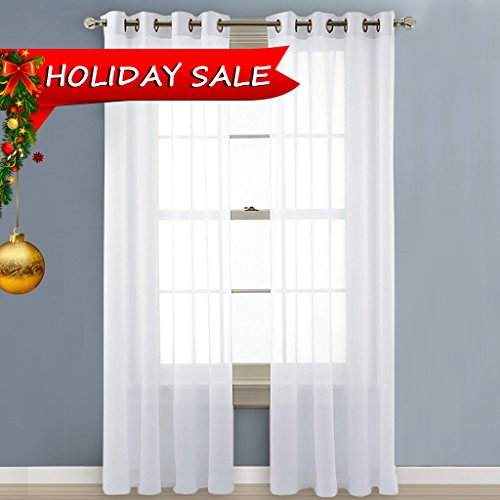 NICETOWN Sheer Curtain Panels Bedroom - Home Decoration Solid Voile Panels with Ring Top (2-Pack, 54 Wide x 84 inch Long, White) Waterfall Night Light