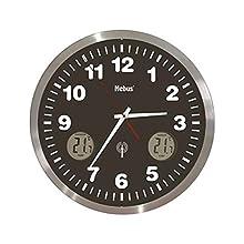 Mebus 41239 - Reloj de Pared (Negro, Metálico, Color Blanco, Aluminio, Vidrio)