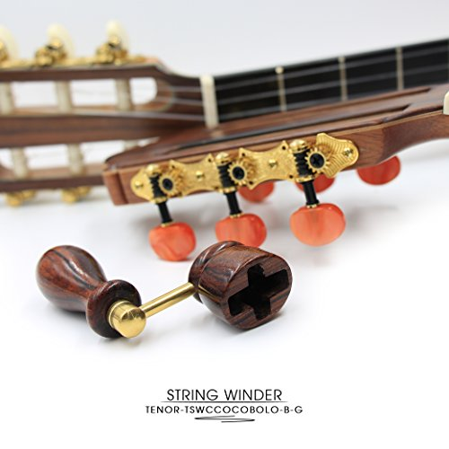 ''COCOBOLO'' Handcrafted Wooden Guitar String Winder by Tenor. Designed For Classical, Flamenco, Acoustic, Electric Guitars and Ukuleles. Made Of Solid Handpicked COCOBOLO Wood. Beautiful Vintage Look. by Tenor (Image #5)