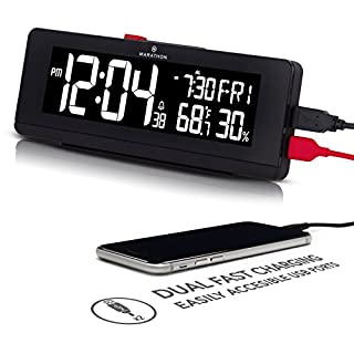 Marathon CL030063BK USB Charger with 2 Charging Ports and Large Changing Display. Alarm Clock with Snooze, Light, Date, Temperature & Humidity. Hotel Collection. Color-Midnight B, Black (B01N4ISJ3L) | Amazon price tracker / tracking, Amazon price history charts, Amazon price watches, Amazon price drop alerts
