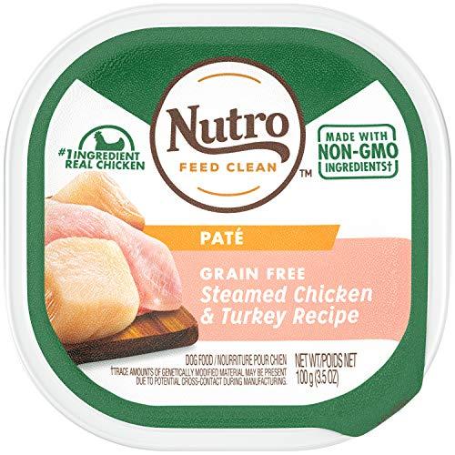 NUTRO Paté Grain Free Wet Dog Food Steamed Chicken & Turkey Recipe 3.5 Ounce Trays (Case of 24)