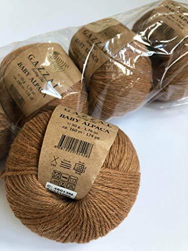 5 Skein (Pack) Total 8.8 Oz. Gazzal Baby Alpaca Each 1.76 Oz (50g) / 174 Yrds (160m) Soft, 2 : Fine-Sport, 55% Baby Alpaca 45% Superwash Merino Fine, Camel 46013M ...