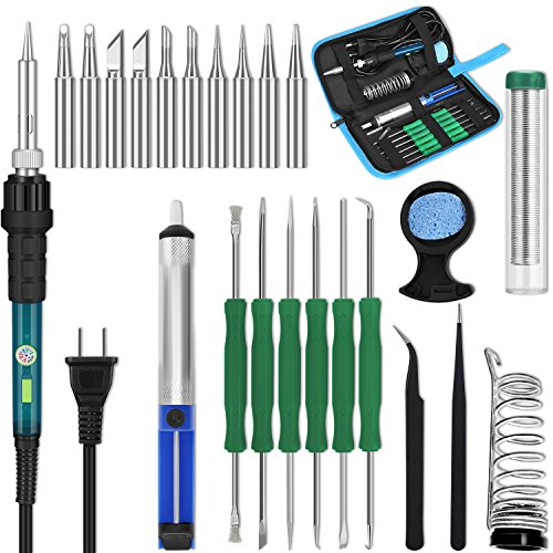 YISSVIC Electric Soldering Iron Kit with Adjustable Temperature Welding Iron 22 in 1 60w Soldering Gun with 10 Soldering Iron Tips ON/OFF (Iron Switch)