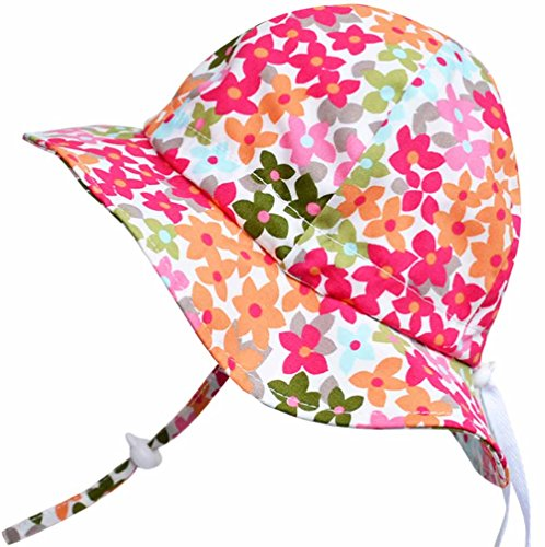 Baby Sun Hat with Chin Strap, Drawstring Adjust Head Size, Breathable 50+ UPF (S: 0 - 9m, Flower Power) …