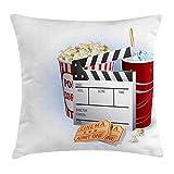 Queen Area Movie Theater Soda Tickets Fresh Popcorn and Clapper Board Blockbuster Premiere Cinema Square Throw Pillow Covers Cushion Case for Sofa Bedroom Car 18x18 Inch, Multicolor
