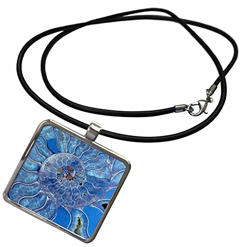 (3dRose Uta Naumann Pattern - Blue Seashell-Mother-of-Pearl Closeup - Necklace With Rectangle Pendant (ncl_266903_1))