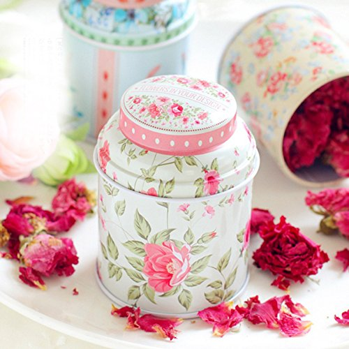 dezirZJjx Tea Container, Premium Tinplate Caddy Box Vintage Flowers Cylinder Round Tea Tins for Home Kitchen Storage Containers Colorful Tins- MT-03 by dezirZJjx (Image #2)