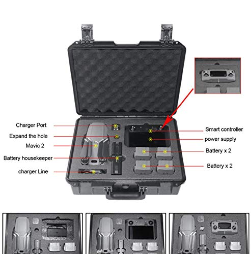 Deluxe Hardshell - Cinhent Switch System Carrying Case - Protective Deluxe Travel System Case Military Spec Hardshell Carrying Case Bag for DJI Mavic 2 & Smart Controller