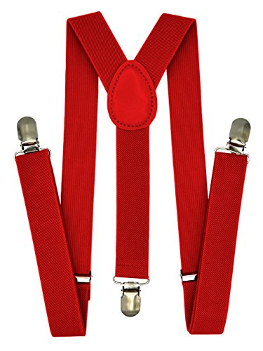 Trilece Kids Boys Suspenders Red - Girls Toddler Baby - Adjustable Elastic Y Back and Strong Clips - Various Solid Colors (Red)