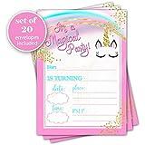 Unicorn birthday invitation - Set of 20 - Girl Birthday Party Celebration