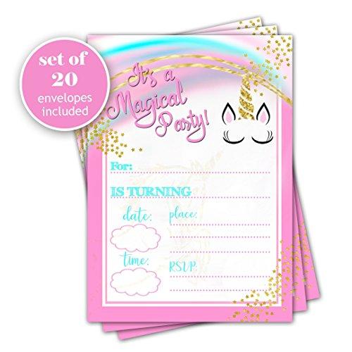 Unicorn birthday invitation - Set of 20 - Girl Birthday Party Celebration (Party Invitations Handmade)