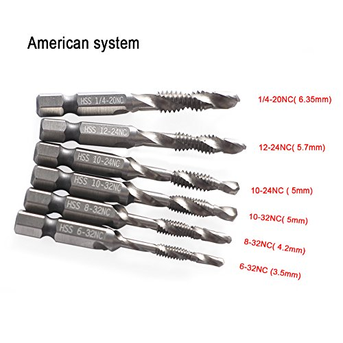 6pcs Combination Drill And Tap Bit Set Drill Bit & Screw Tap Deburr Countersink Bit Strong Hex Shank Spiral Tap