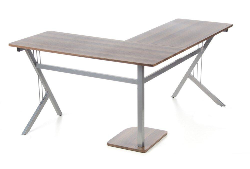 Hjh OFFICE 673460 Escritorio POLLUX nogal plateado mesa de ordenador