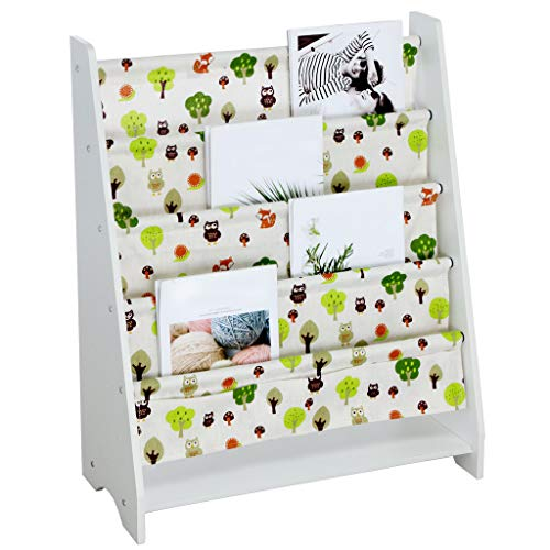 (Iusun Childrens Bookrack Kids Baby Toy Single-Sided Book Case Display Stand Magazine Picture Book Storage Bookshelf 30×23.6×11'' White - Ship From USA (White))