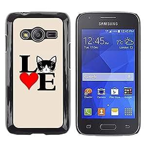 TopCaseStore / la caja del caucho duro de la cubierta de protección de la piel - Cat Love Poster Black White Heart - Samsung Galaxy Ace 4 G313 SM-G313F