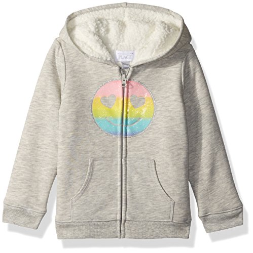 The Children's Place Baby Girls' Sherpa Hoodie, H/T Falcon, 3T