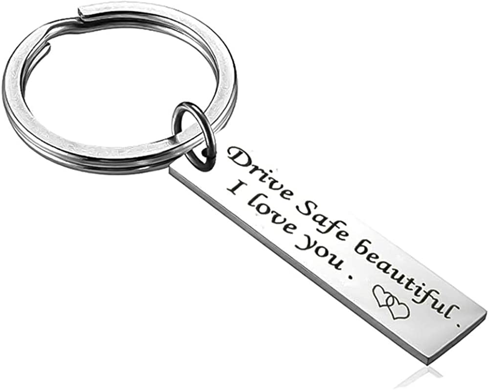 Fashion Key Chain Engraved Drive Safe  For Couples Girlfriend  Jewelry Gifts Key