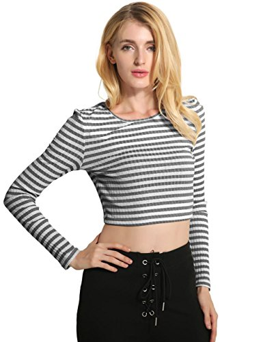 Imanid Sexy O-Neck Slim Striped Thin Knitted Short Girls Tops Blouse Long Sleeve Sport T Shirt Sportwear , black , m