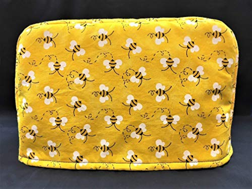 2 Slice Slot Honey Bumble Bees on Yellow Reversible Kitchen Appliance Toaster Dust Cover Cozy 11.5(l) x 7.5(h) x 5.5(w)