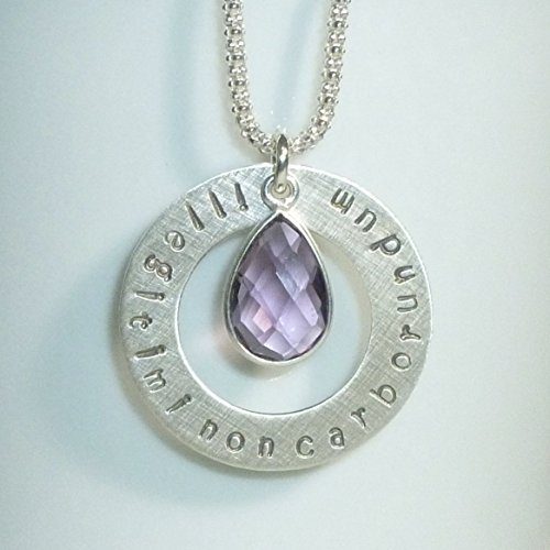 Illegitimi Non Carborundum Hand Stamped Sterling Silver Necklace - Don't Let The Bastards Grind You Down with Amethyst Hydro Quartz Gemstone Pendant
