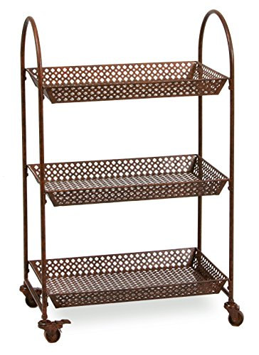 Tier Iron Work Stand - Deer Park Ironworks TC109 Rolling 3 Tier Cart with Locking Wheels, 24