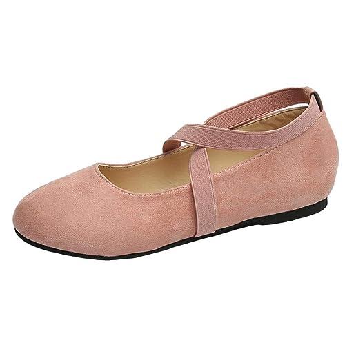 UFACE Damen Flache Kreuzband Damenschuhe Slip on Flache Runde Kappe Flache Schuhe Sandalen Lässig Bequeme Schuhe(Rosa 37 EU) B07GFM9CRV