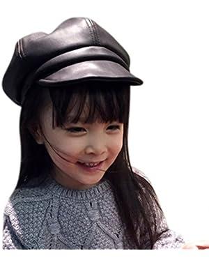 (4-8Y) Kids Boys & Girls Winter PU Leather 8 panel Newsboy Cabbie Hat Beret Cap