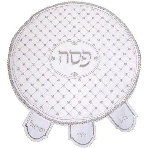 Violet Linen Embroidered Seder Matzah Matzoh Cover 17'' Round Stars, NO Machine Washable. Spot wash only by Violet Linen (Image #1)