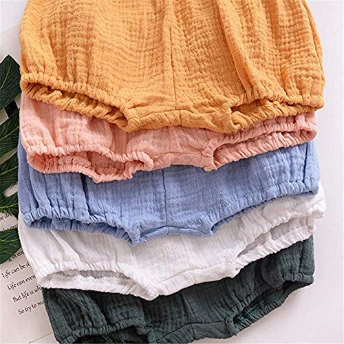JELEUON Baby Toddle Infant Girls Sweety Diaper Cover Cotton Linen Blend Ruffle Bloomer Shorts