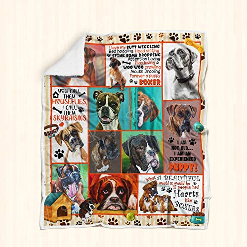 Geembi Boxer Dog Sofa Blanket P235, Adult Sherpa Fleece Throw Blankets Bedding Blanket Reversible -Decorative Blanketed - Artwork Sherpa Blanket - Best Gift 2019 ()