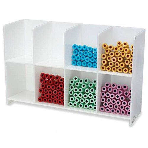 White 8-Place Tube Rack 17''W x 5.25''D x 10.625''H