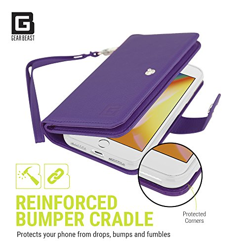 Gear Beast iPhone 8 Plus/7 Plus Wallet Case, Flip Cover Dual Folio Slim PU Leather Case 7 Slot Card Holder Including ID Holder Plus Cash Pockets For Men and Women Bonus Screen Protector - Purple by Gear Beast (Image #4)