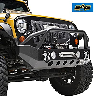 E-Autogrilles Rock Crawler Front Bumper Steel With Fog Lights Hole & 2x D-Rings & Built in Winch Mount Plate for 07-17 Jeep Wrangler JK (Black) (51-0373)