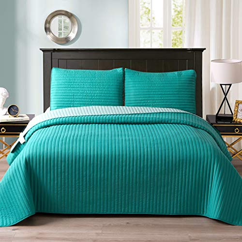 """Exclusivo Mezcla Ultrasonic Reversible 3-Piece Queen Size Quilt Set with Pillow Shams, Lightweight Bedspread/Coverlet/Bed Cover - (Teal Green, 92""""x88"""")"""