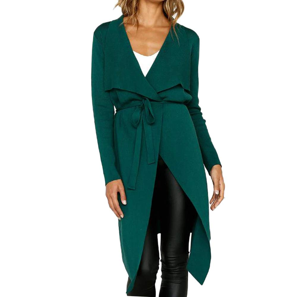 Liraly Cardigan Sweaters For Women New Fashion Women Long Sleeve Leather Open Front Short Cardigan Suit Jacket Solid Long Coat(Green,US-8 /CN-L)
