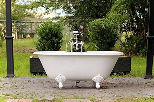"Antique Cast Iron Tubs - 60"" White Antique Inspired Cast Iron Porcelain Clawfoot Bathtub Double Bathtub Package Original Finish"