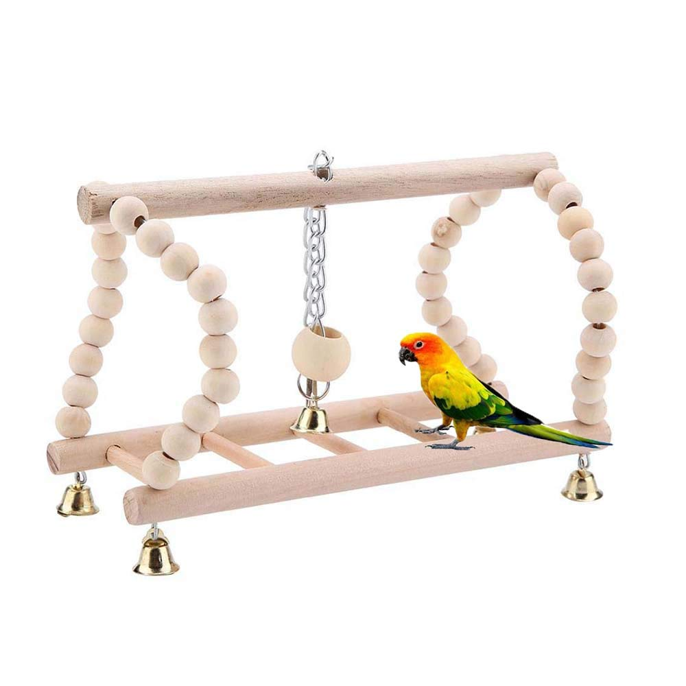 FXQIN Parrot Ladder Perch, Bird Ladders Wooden Playground, Parrot Ladder Swing Bridge, Flexible Cage Toy for Small and Medium Parakeet Training by FXQIN