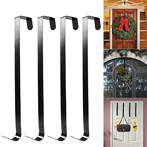 HOMEMAXS All Purpose Metal Wreath Hanger Over The Door Wreath Holder 12inch 4 Packs Black Large by HOMEMAXS
