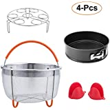 E-Gtong Instant Pot Accessories Set, Fits Instant Pot Pressure Cooker, 4-Pcs with Steamer Basket, Non-stick Springform Pan, Egg Steamer Rack and 1 Pair Silicone Cooking Pot Mitts, Best Gift Idea